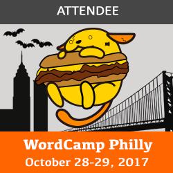 WordCamp Philadelphia attendee badge: frankenpuu with a cheesteak with bats, liberty tower, and ben franklin bridge