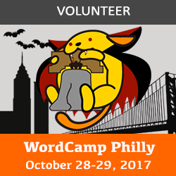 WordCamp Philadelphia sponsor badge: vampuu with the liberty bell with bats, liberty tower, and ben franklin bridge